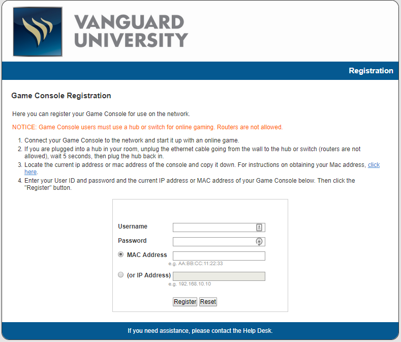 How to register a Game Console – Vanguard University
